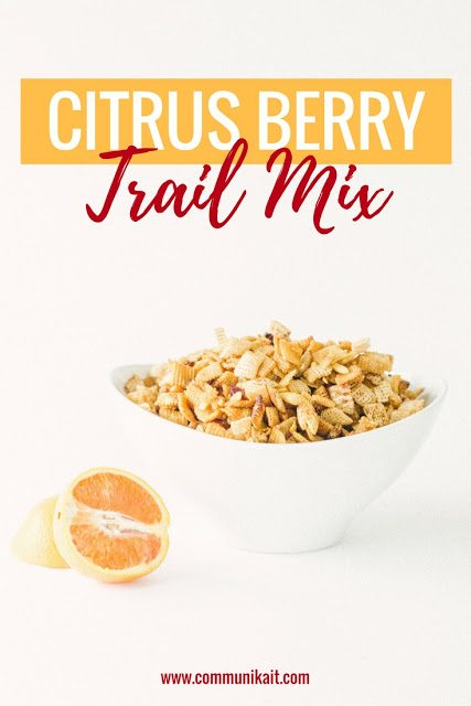 Citrus Berry Trail Mix - Chex Mix Recipe - Rice Chex Mix Recipe - Chex Party Mix - Fall Chex Recipe - Chex Mix Snack Mix Recipe - Chex Mix Gluten Free Mix - Fall Snack - Communikait by Kait Hanson #chexmix #chexrecipe #fall #recipe #glutenfree