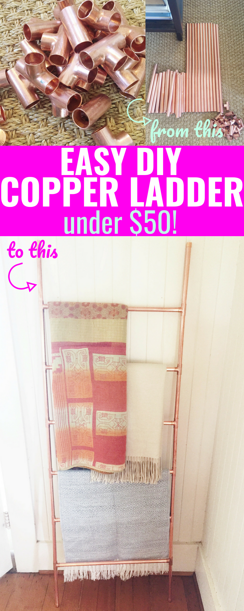 Easy DIY Copper Ladder - Copper Display Ladder - Copper DIY - Copper Ladder Home - Copper Towel Racks - Copper Ladder Display - Easy DIY For Copper Ladder - Cheap Tutorial For Copper Ladder - Communikait by Kait Hanson #copperladder #DIYcopperladder #cheapcopperladder #cheapcopperladdertutorial #copperpipes #copperdecor #homedecor