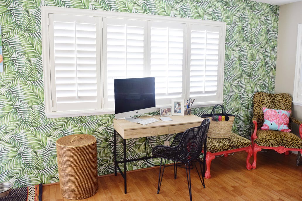 Hawaiian Home Office - Palm Wallpaper - Wicker - Leopard Chair - Threshold Desk - Hawaiian Home Feature on Apartment Therapy - CommuniKait