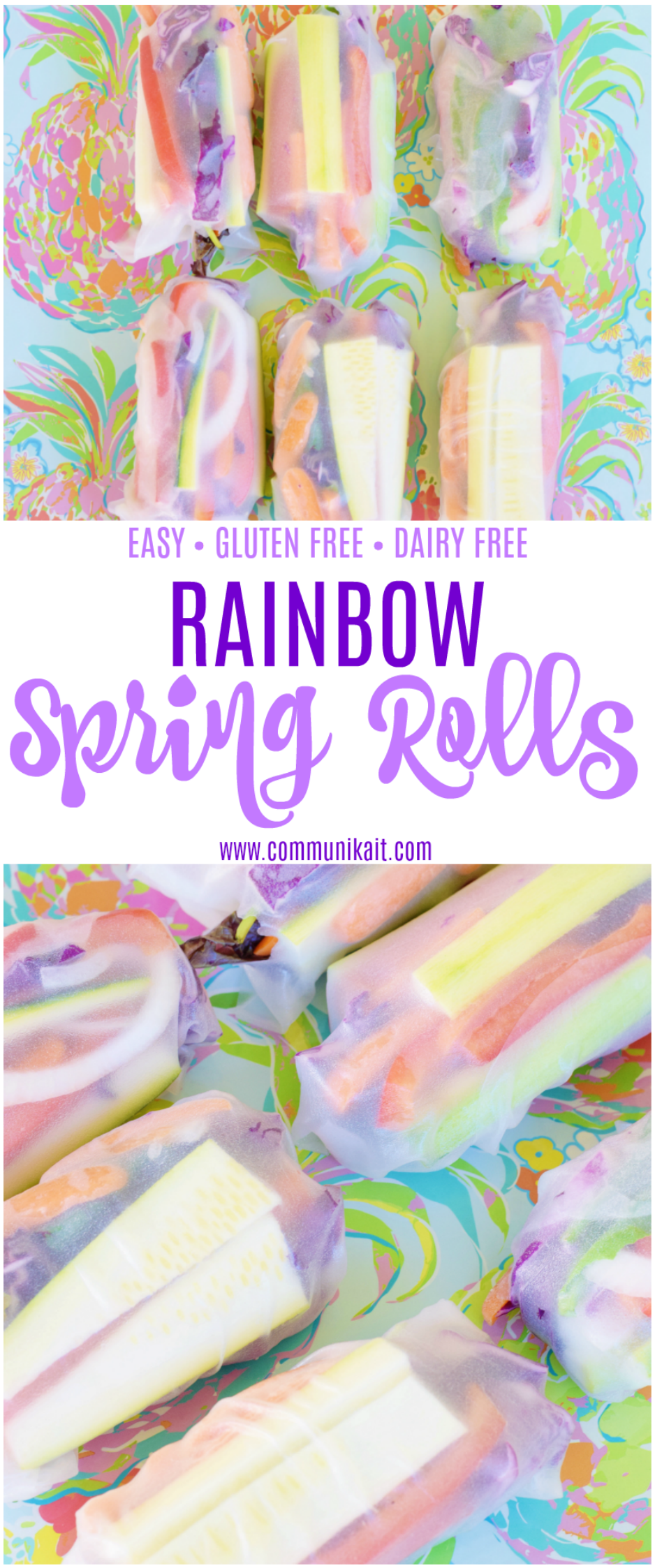 Colorful Vegetable Spring Rolls Recipe - Dairy and Gluten Free - Make At Home - Zucchini, Carrots, Onions, Cucumber, Peppers, Basil, Mint + Mixed Greens - Rainbow Spring Rolls - Communikait