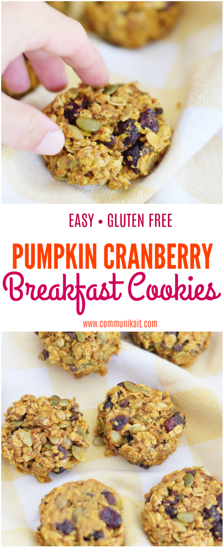 Pumpkin Cranberry Breakfast Cookie - Healthy Breakfast Idea - Breakfast Cookie Recipe - Healthy Breakfast For Kids - Breakfast Ideas - Healthy Snack - Easy Gluten Free Breakfast - Breakfast Option On The Go