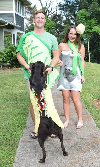 DIY Tequila Shot Costume (And Taco Dog!) - DIY Halloween Costume - Easy Halloween Costume Ideas - Couple Costume Ideas - Couple Halloween Costume Ideas - Family Costume Ideas For Halloween - Communikait by Kait Hanson #halloween #couplecostume #costumeidea