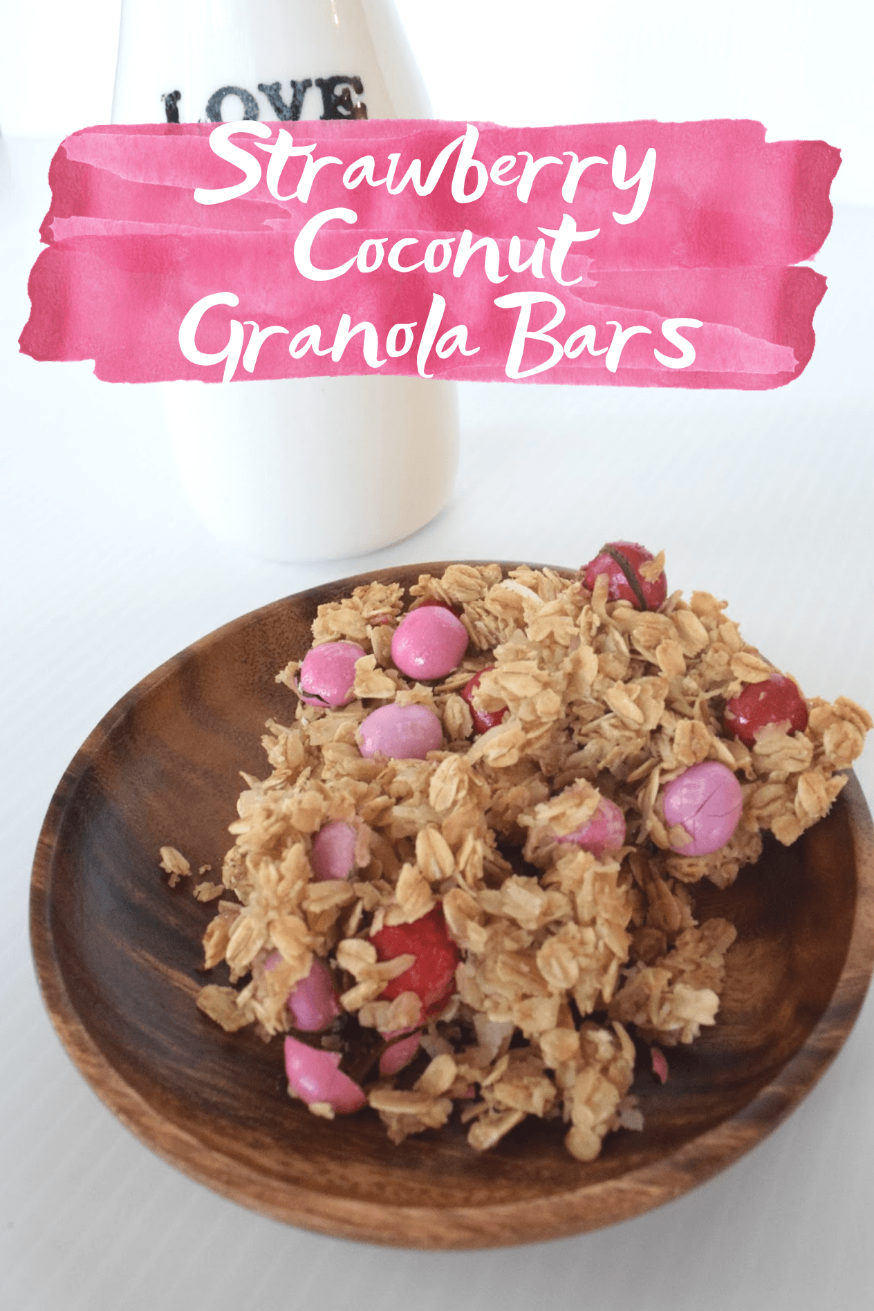 Strawberry Coconut Granola Bars - An easy Valentine's Day treat using ingredients you already have at home! | Valentine's Day Dessert - Strawberry M&Ms - Homemade Granola Bar Recipe