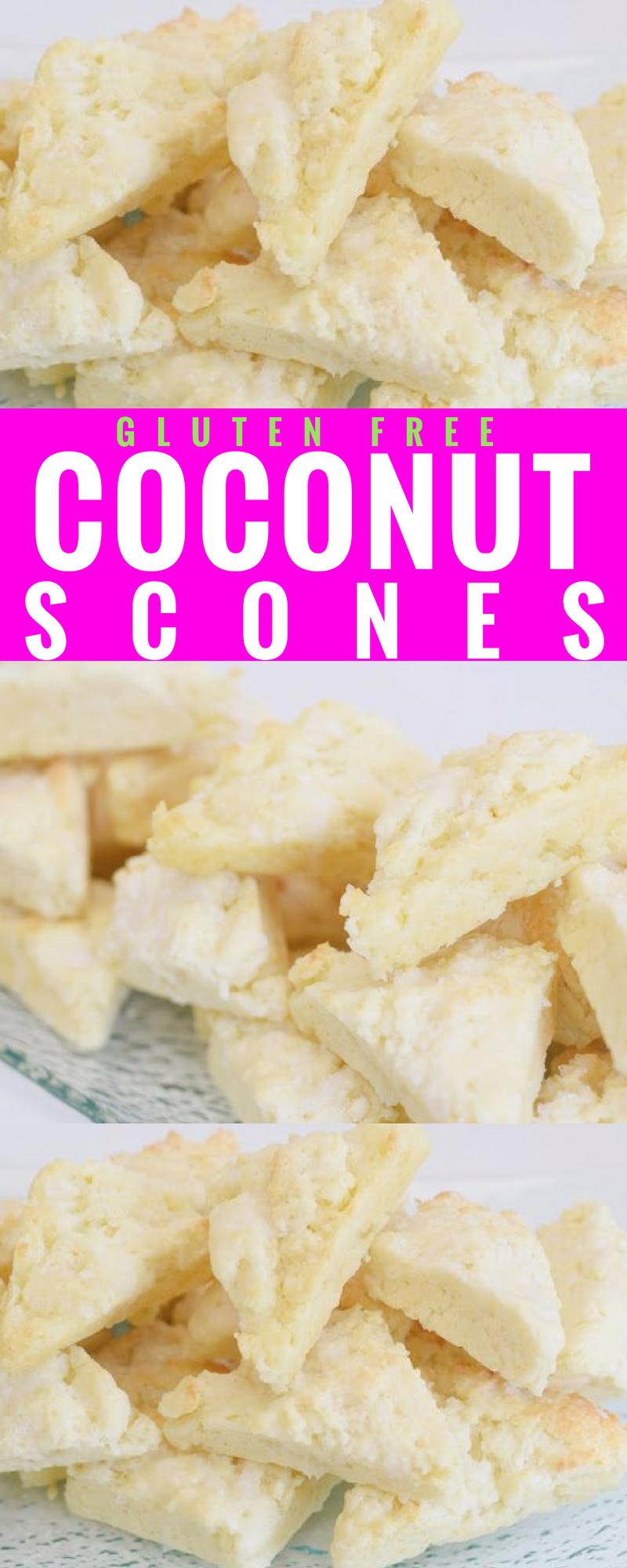 Gluten Free Coconut Scones - A delicious recipe for gluten free + moist, coconut scones! #glutenfree #breakfast #coconut #coconutscones #glutenfreebreakfast #glutenfreedessert #recipe