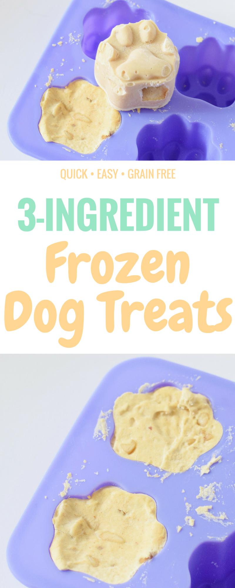 DIY Frosty Paw Dog Treats - 3 Ingredient Dog Treat Recipe - Dog Treat Peanut Butter - Frozen Dog Treat Recipe - Grain Free Homemade Dog Treats - Homemade Frosty Paws - Easy Dog Treat Recipe - Communikait by Kait Hanson