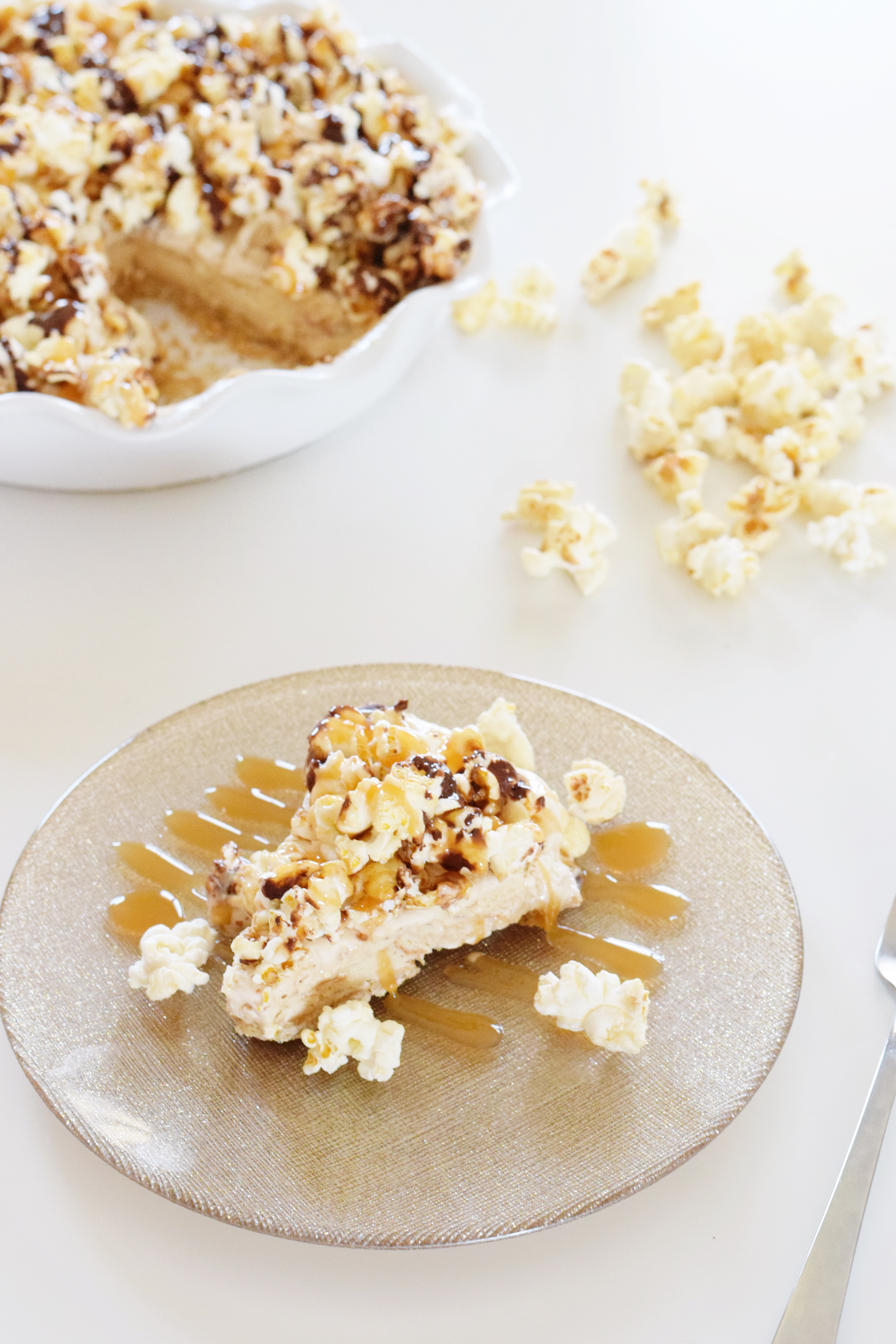 Salted Caramel Popcorn Ice Cream Pie