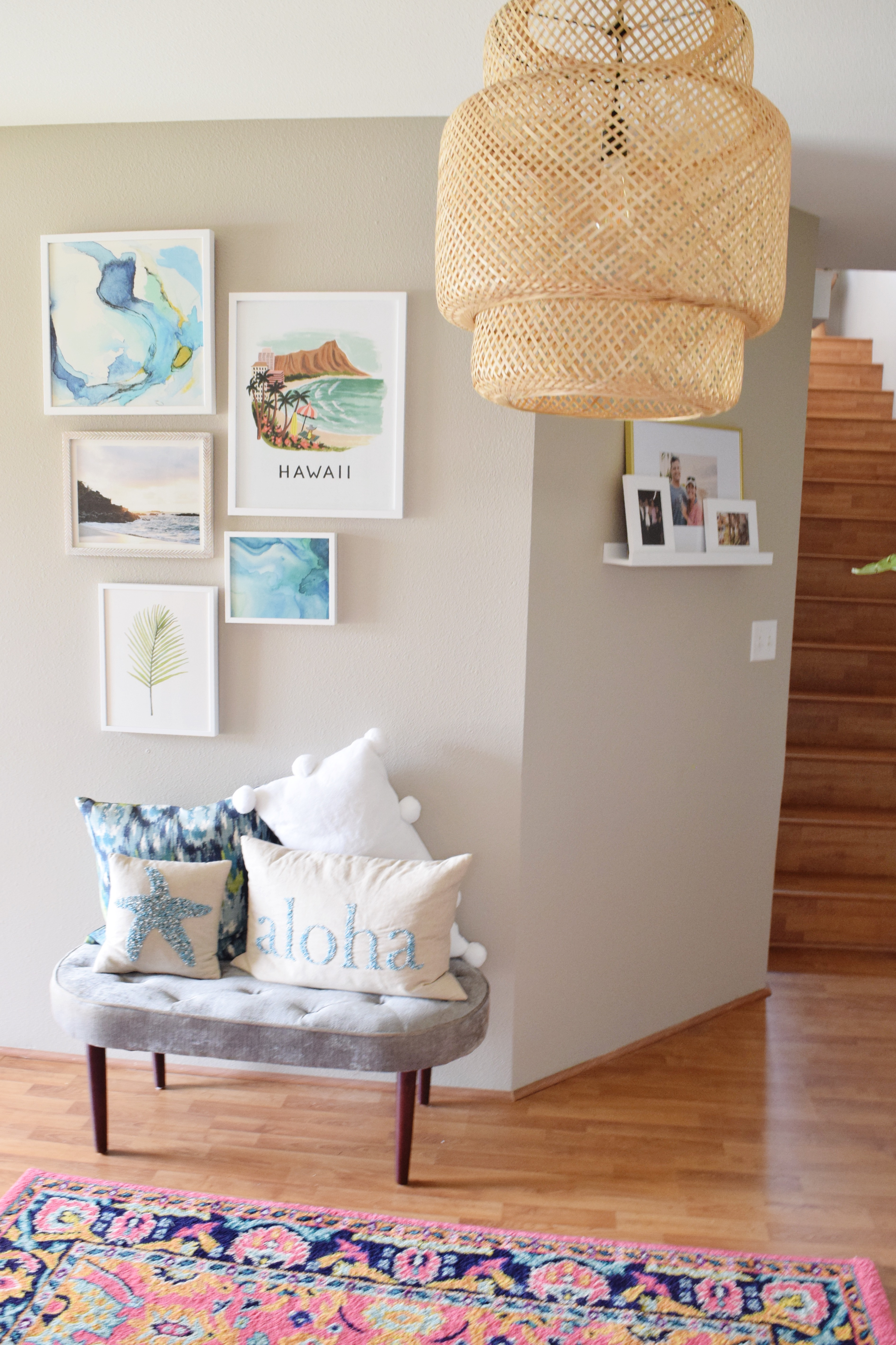 Gallery Wall - Velvet Stool - Aloha Pillows - Photo Ledge - Hawaiian Home Feature on Apartment Therapy - CommuniKait