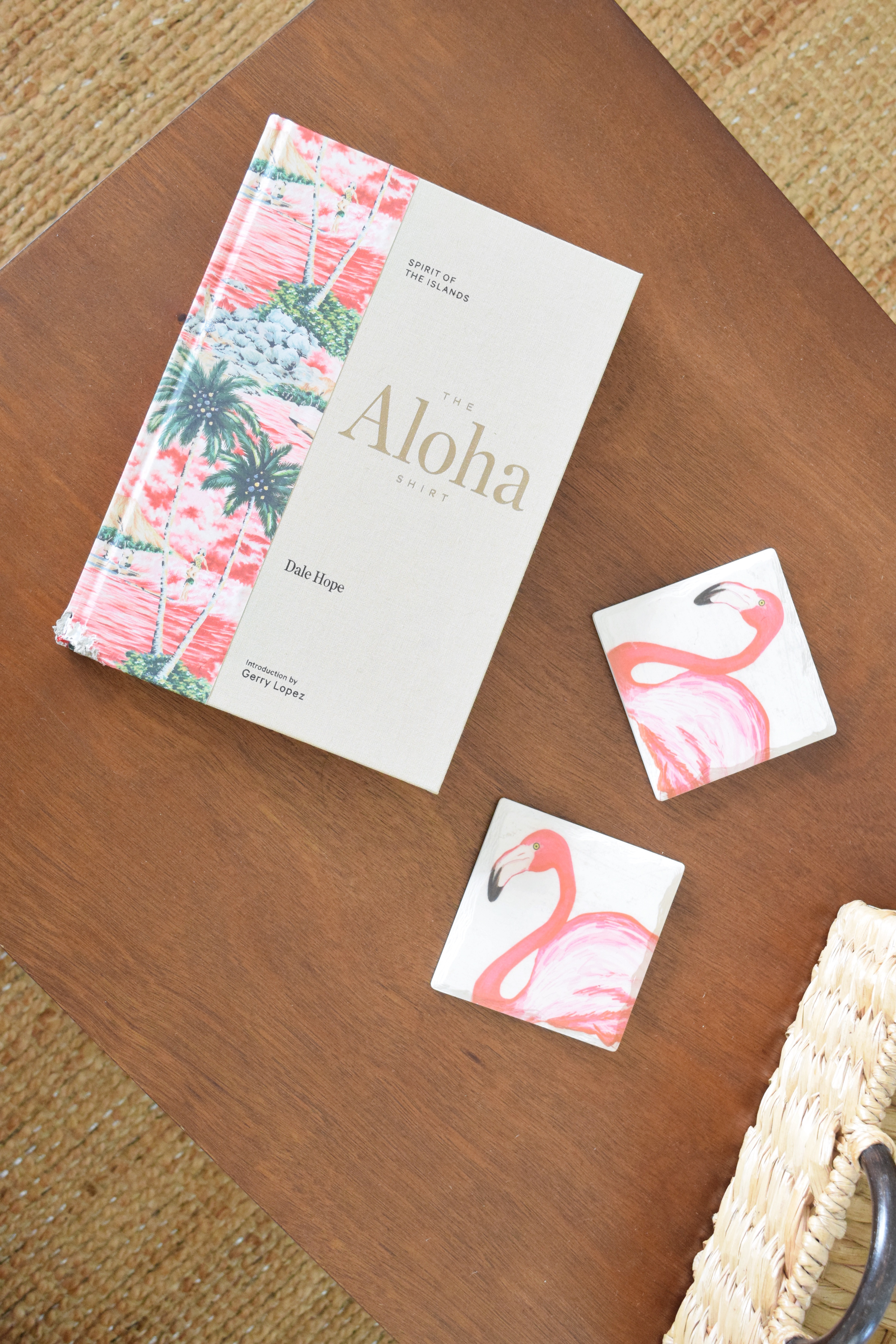 Coffee Table - The Aloha Shirt Book - Flamingo Coasters - Hawaiian Home Feature on Apartment Therapy - CommuniKait