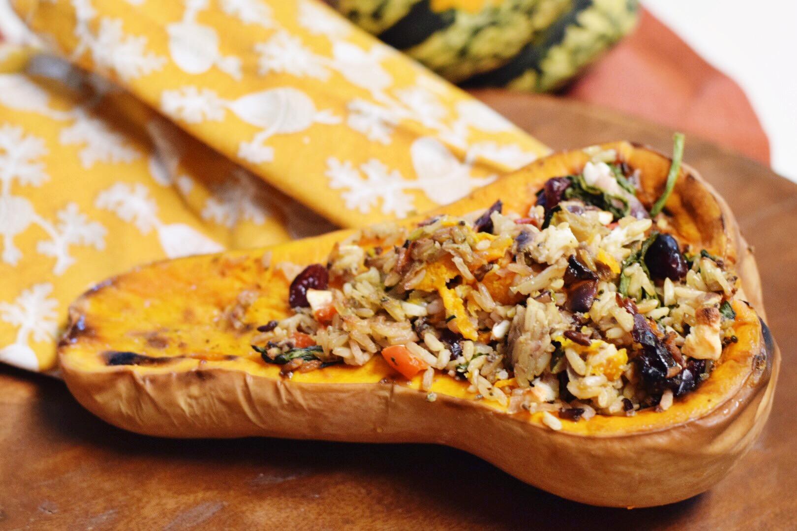 Roasted Stuffed Butternut Squash - Butternut Squash Recipe - Baked Butternut Squash For Fall - Fall Recipe - Gluten Free Recipe - Vegetarian Recipe - Vegetarian Fall Recipe - Fall Dinner Recipe - Communikait by Kait Hanson