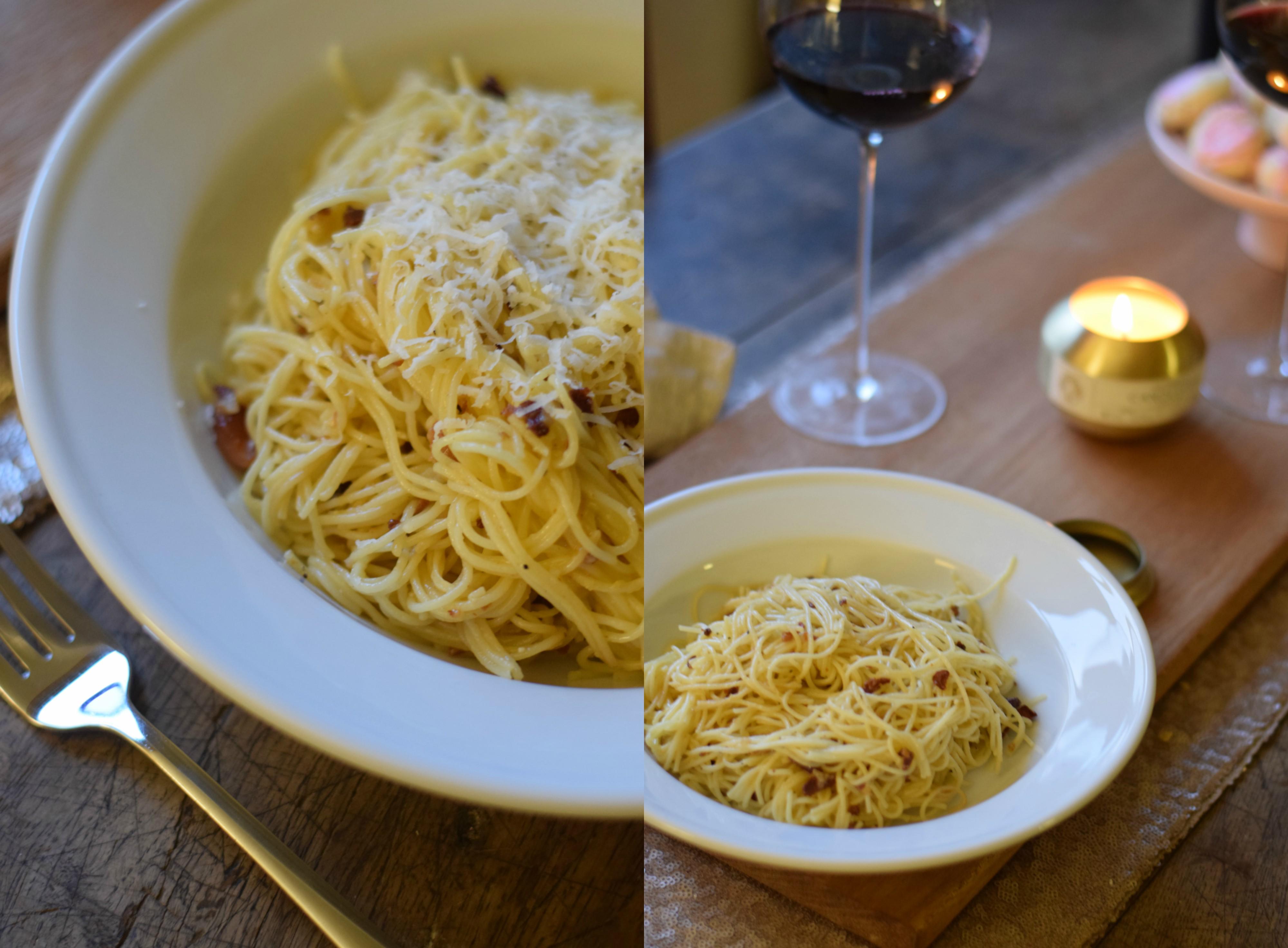 Homemade Spaghetti Carbonara - Date Night In Meal Ideas - Authentic Pasta Carbonara Recipe - Easy Spaghetti Carbonara - Easy Dinner Recipe - Communikait by Kait Hanson