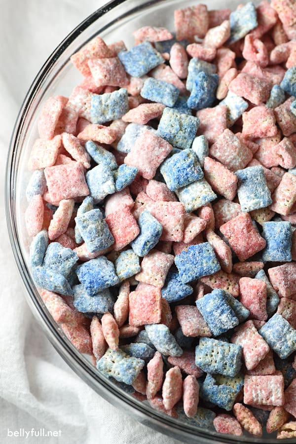 Red-White-Blue-Muddy-Buddies-Easy Flag Dessert--The Best Red, White + Blue Recipes For Your Patriotic Party