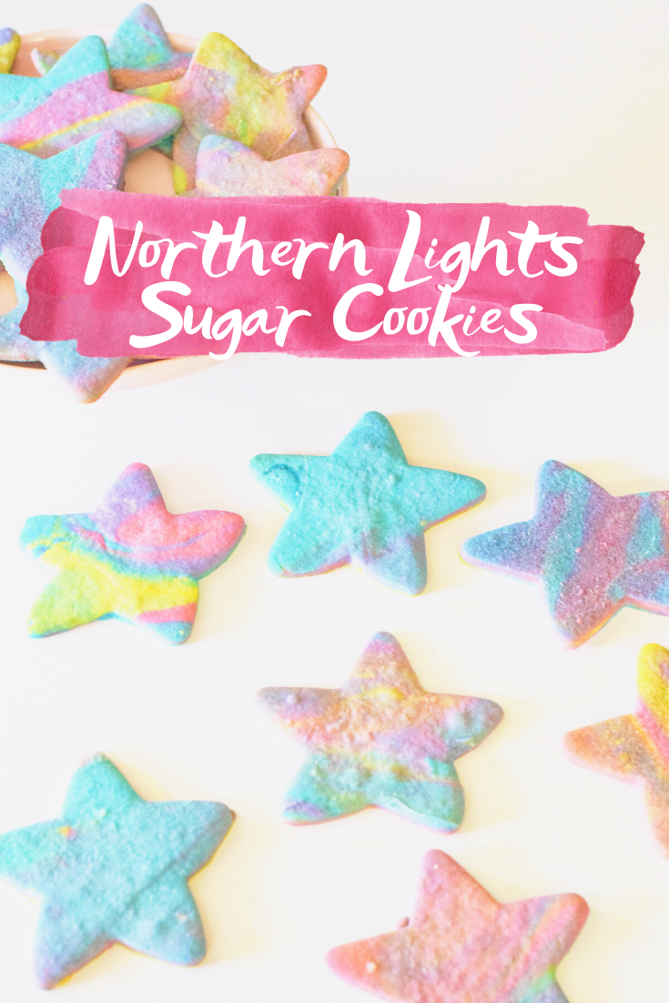 Northern Lights Sugar Cookies - Super-easy classic sugar cookies inspired by the beautiful Aurora Borealis, or Northern Lights, sky show! | Tie Dye Sugar Cookies - Best Ever Sugar Cookies - Easy Sugar Cookies - Northern Lights Cookies