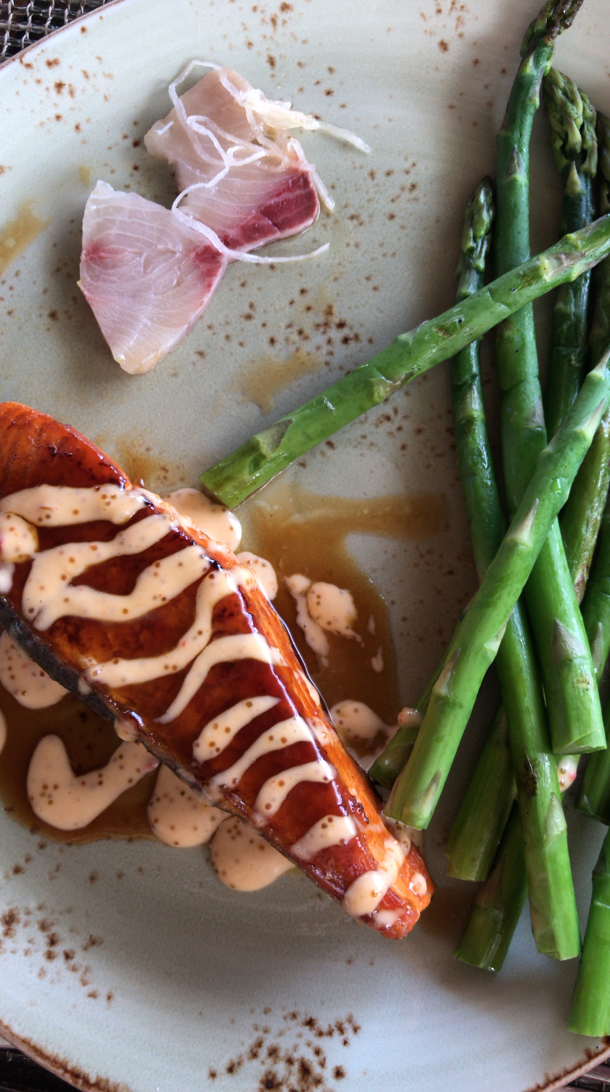 Eating At Halekulani's Restaurant House Without A Key, glazed salmon with asparagus