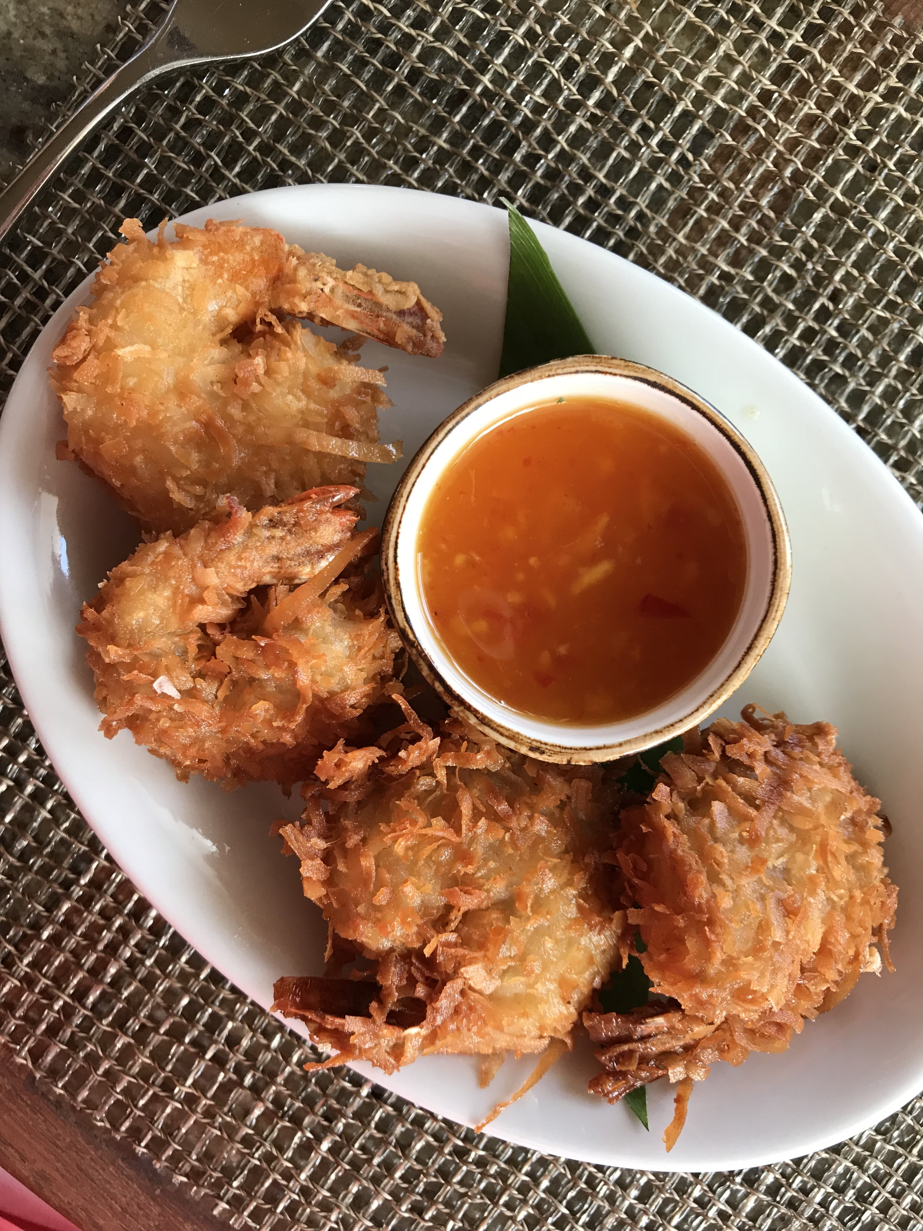Eating At Halekulani's Restaurant House Without A Key, Four coconut shrimp with dipping sauce