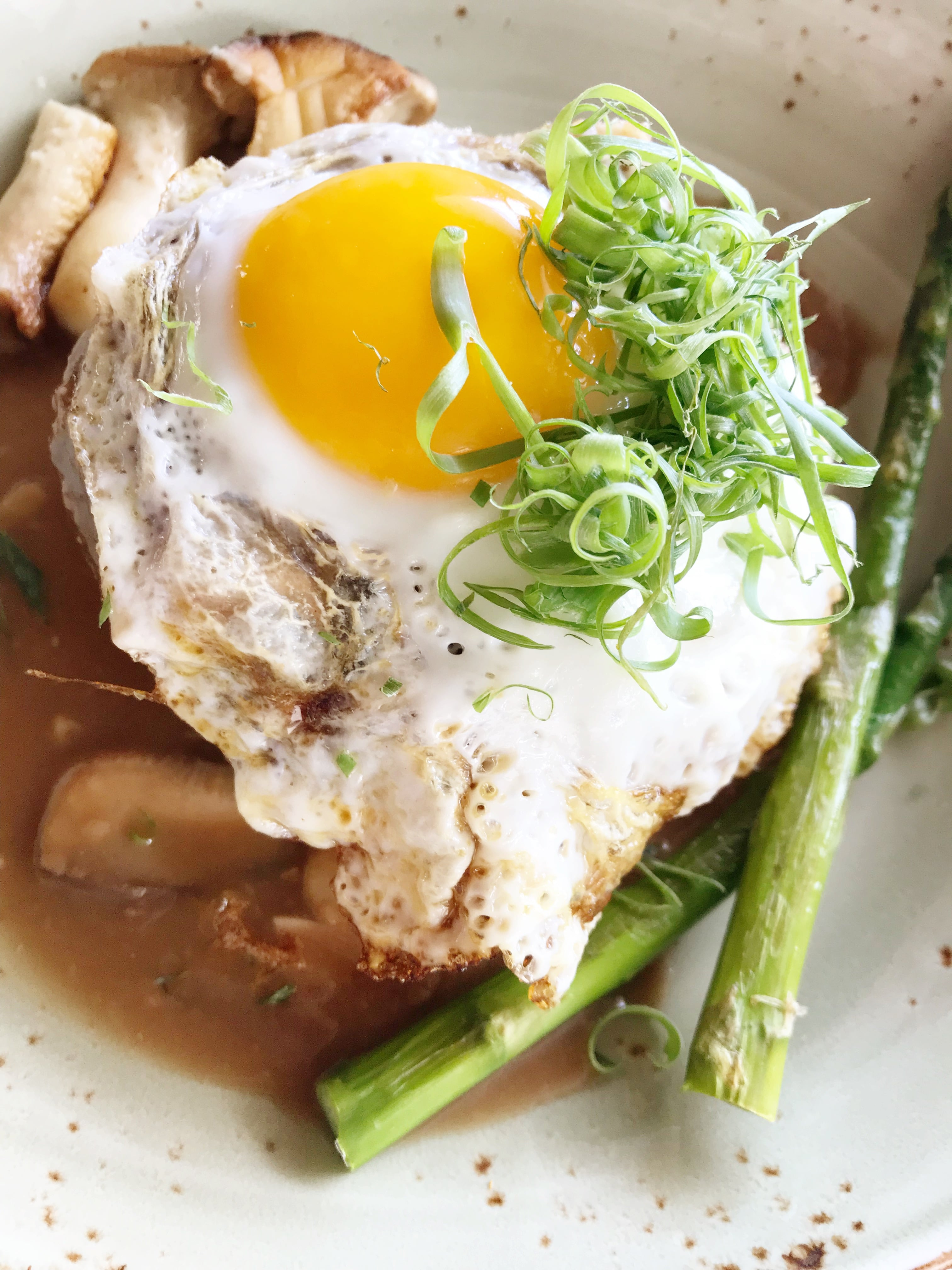 Eating At Halekulani's Restaurant House Without A Key, dish with asparagus and friend egg