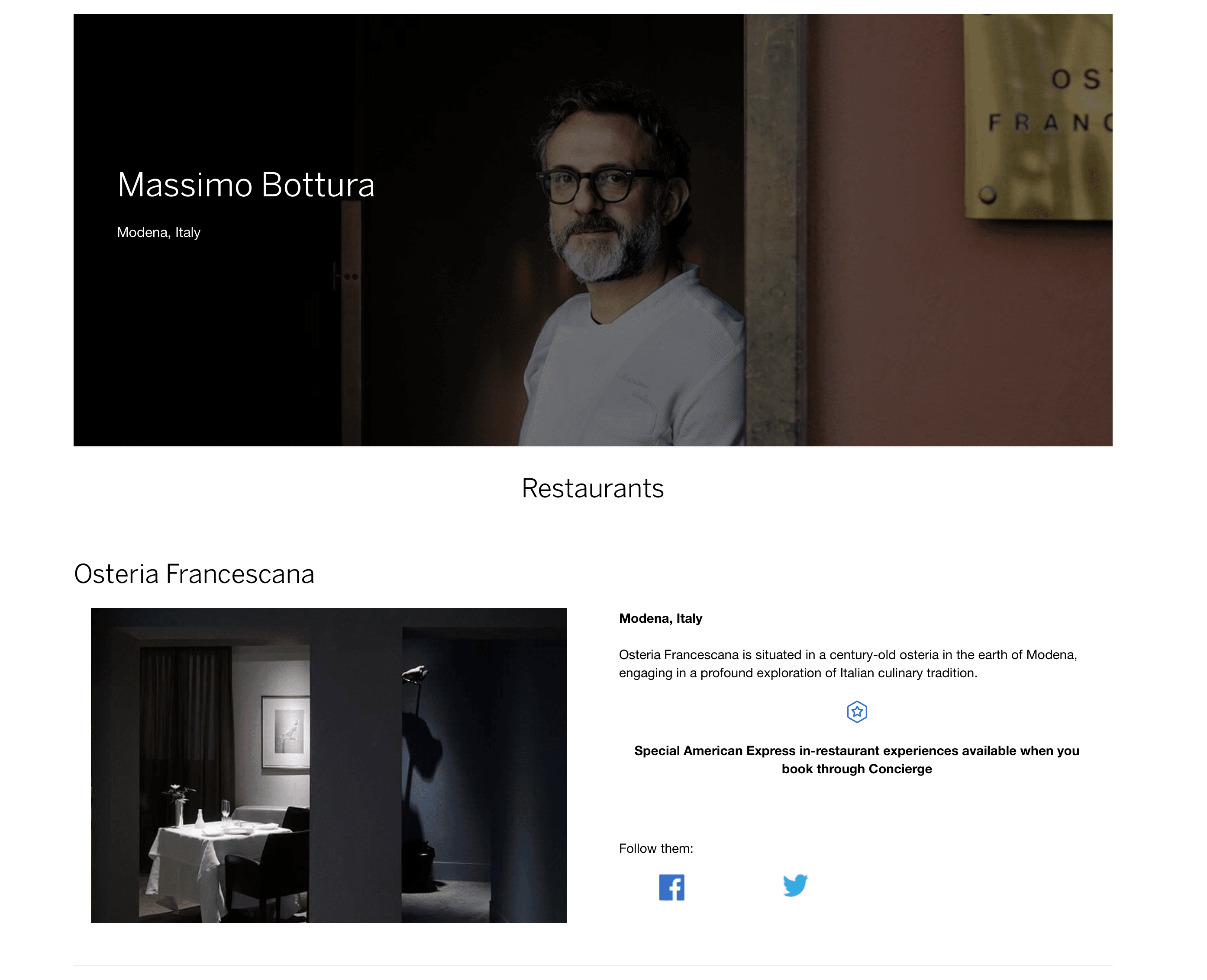 Screenshot of American Express Global Dining page, featuring Italian chef Massimo Bottura.