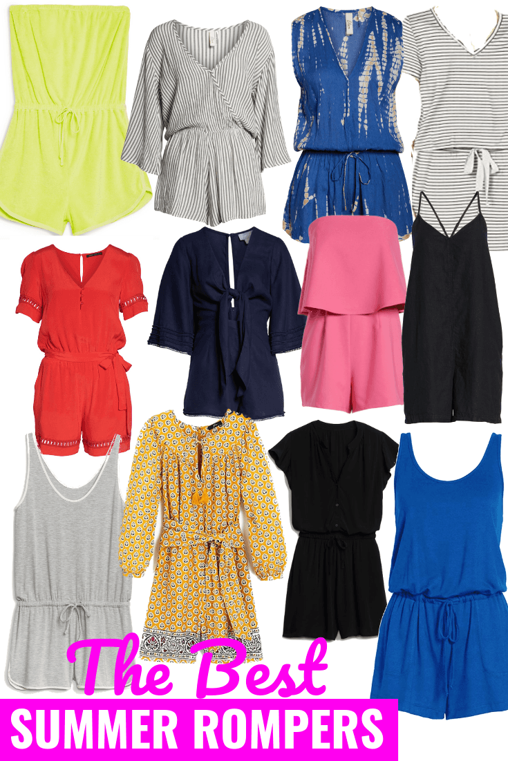 "A collection of women's rompers for summer 2019 - ""The Best Summer Rompers"" in typeface at the bottom"