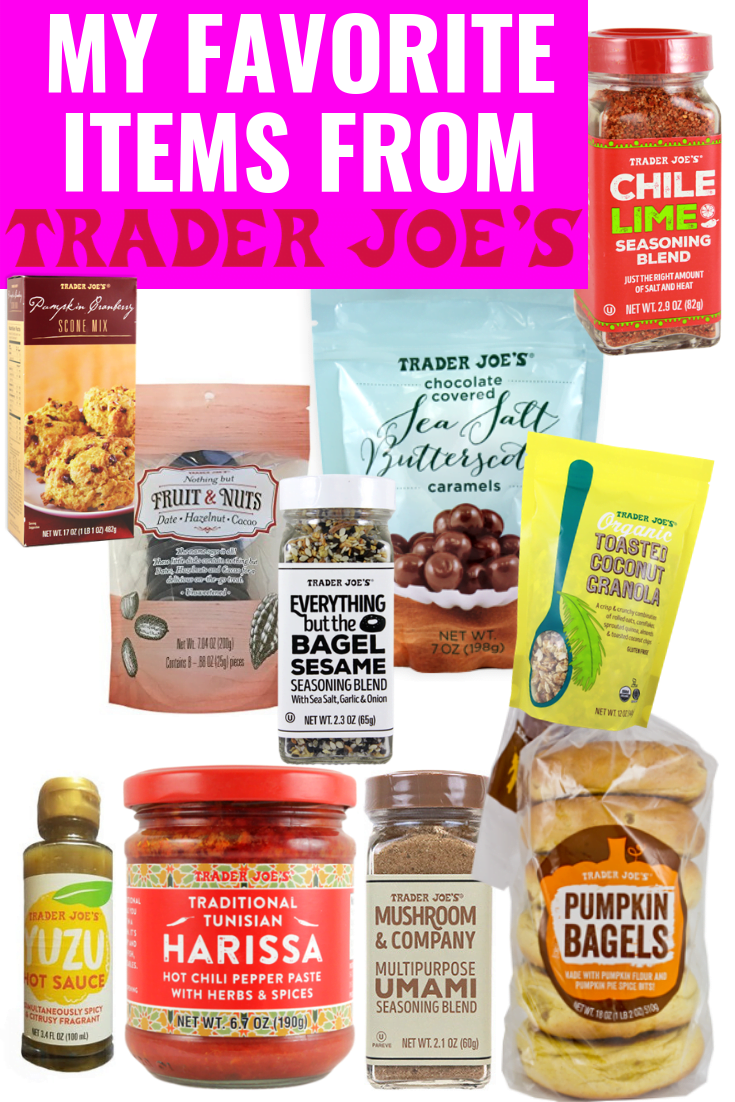 Collection of food items from Trader Joe's grocery store.