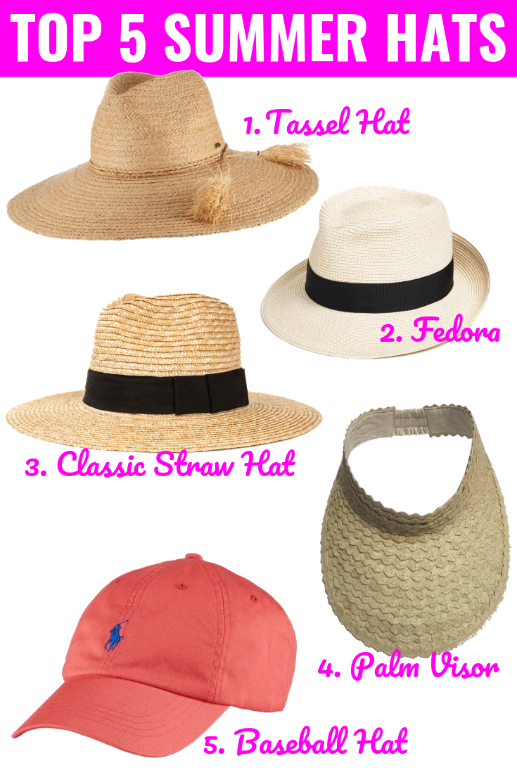 "Collage of 5 hats with ""Top 5 Summer Hats"" in writing"
