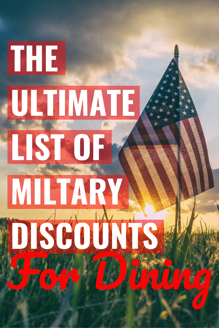 "American flag with a sunset and ""The Ultimate List of Military Discounts For Dining"" written over it"