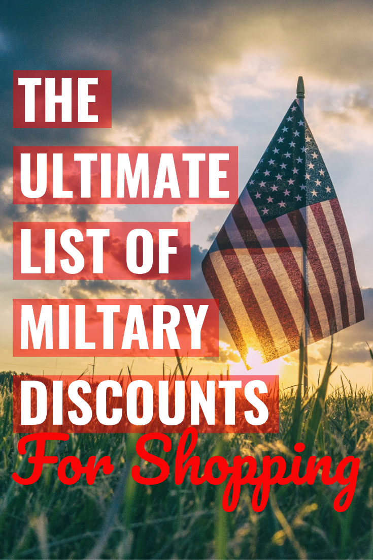"American flag with a sunset and ""The Ultimate List of Military Discounts For Shopping"" written over it"