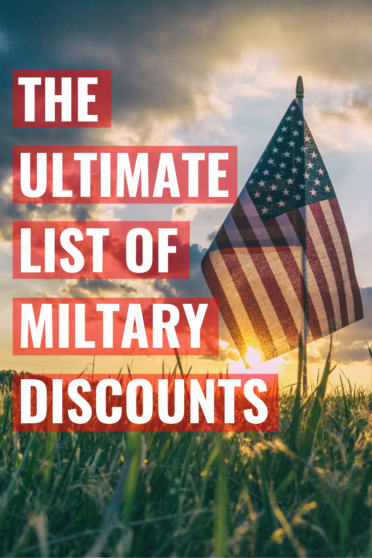 "American flag with a sunset and ""The Ultimate List of Military Discounts"" written over it"