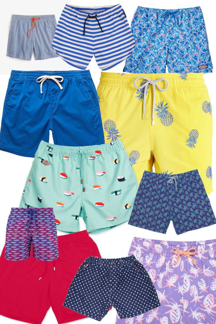 Collection of men's swim trunks in multiple colors. Short Men's Swim Trunks