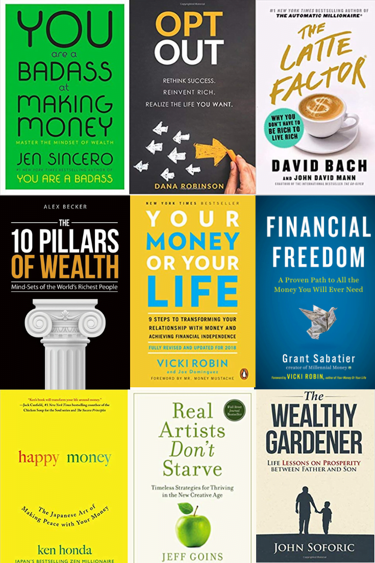 Collage of 9 personal finance books
