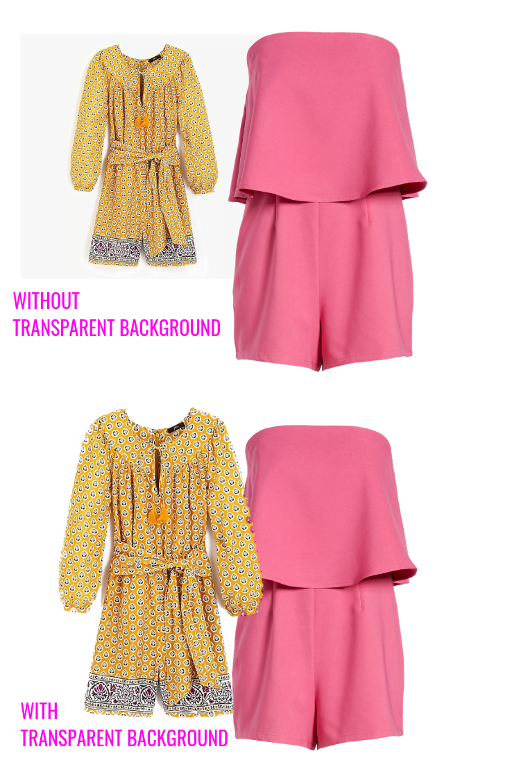Comparison of yellow romper and pink romper with transparent and not transparent backgrounds