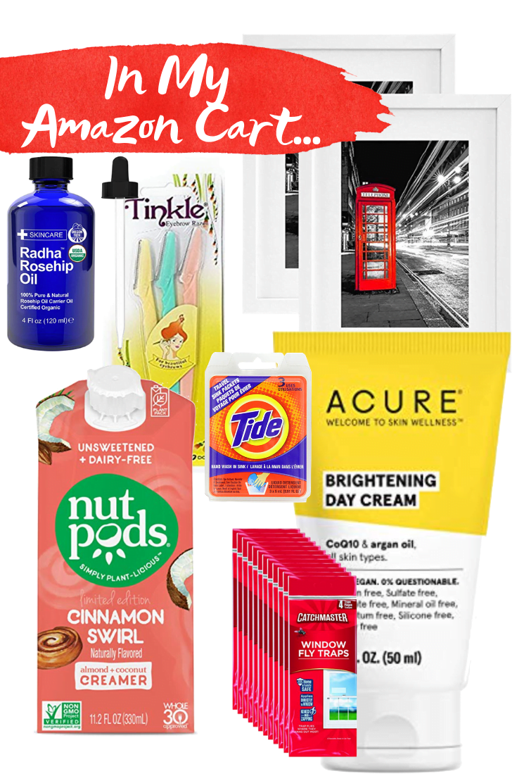 In My Amazon Cart - Amazon Prime - Nut Pods - Acure - Rosehip Oil - Tide Sink Packs - TInkle Face Razors - White Frames