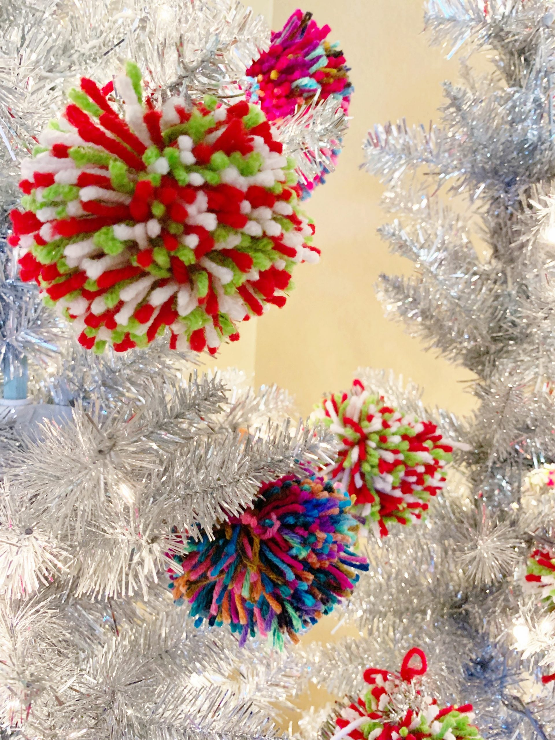Pom Pom Christmas Tree - A fun and whimsical Christmas decor tutorial for how to make a Christmas tree decorated with pom poms! | Aluminum Pom Pom Tree - Christmas Tree Decorated With Pom Poms - Tinsel Tree