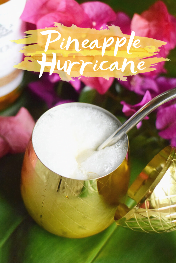 Pineapple Hurricane Cocktail With Kōloa Rum - A delicious mix of pineapple and passionfruit juice, blended with tropical coconut flavor, makes this the ultimate tropical cocktail! | Hurricane Cocktail - Kōloa Rum cocktail - Rum Cocktail Recipe - Hurricane Recipe - Hurricane Drink Recipe - Hurricane Cocktail Recipe