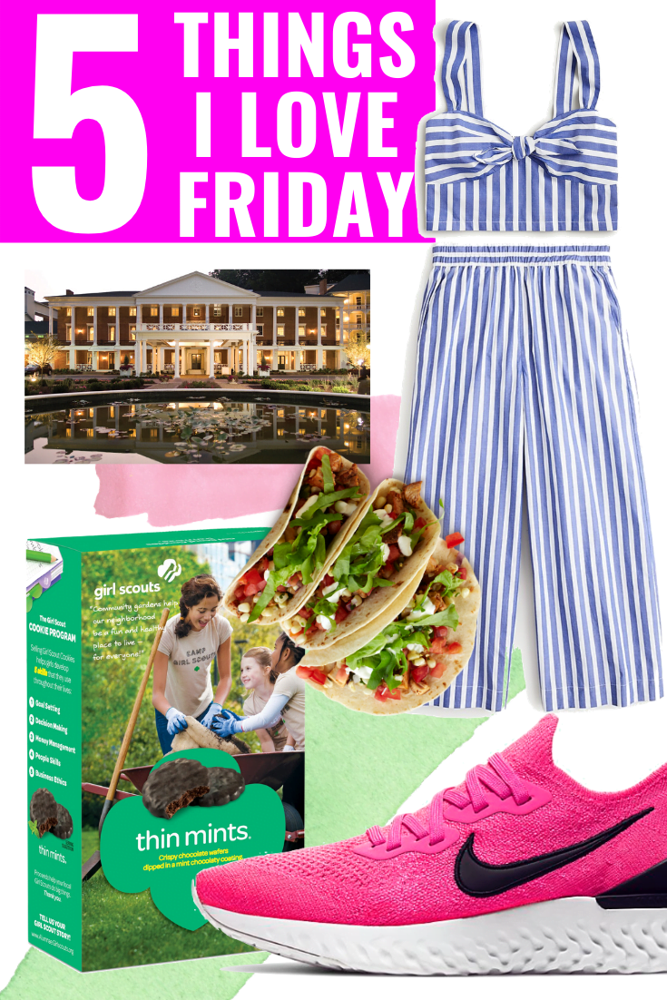 5 THINGS I LOVE FRIDAY - Sneakers - Girl Scout Cookies - JCrew Two Piece Striped Set - Bedford Springs - Veggie Tacos