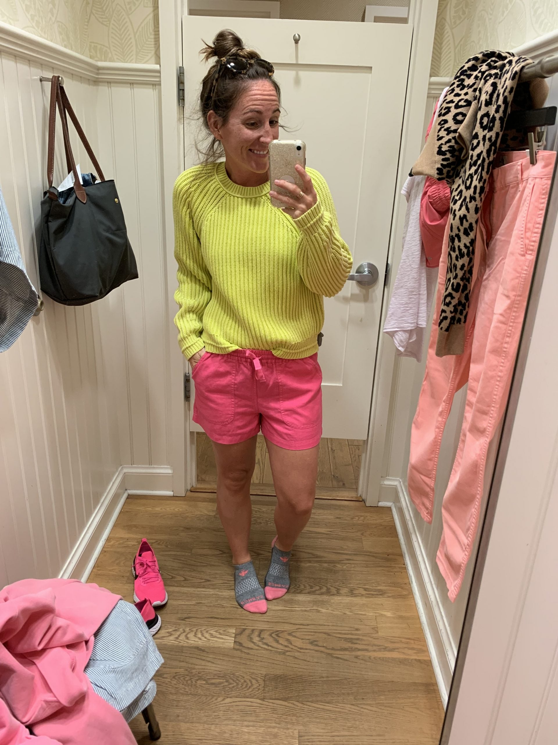 Neon sweater with neon shorts