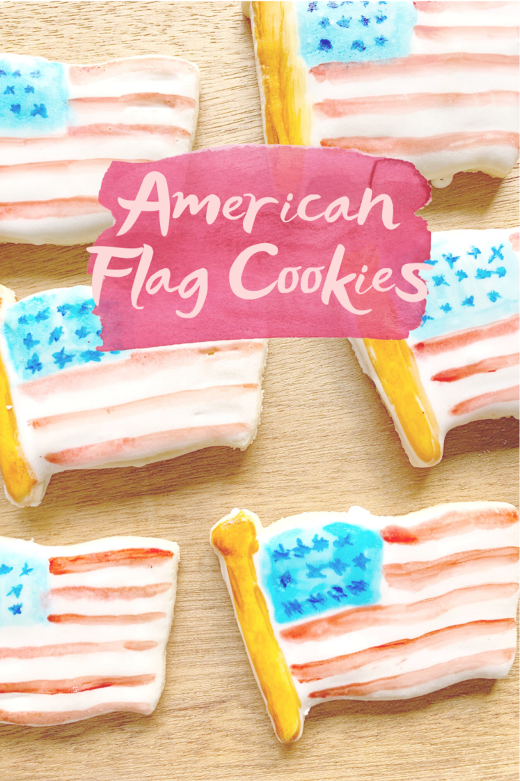 American Flag Cookies - These easy American Flag Cookies are the perfect patriotic treat this summer - and who doesn't love sugar cookies? | Patriotic Sugar Cookies - Fourth of July Cookies - USA Flag Cookies - American flag sugar cookies - Painted Cookies
