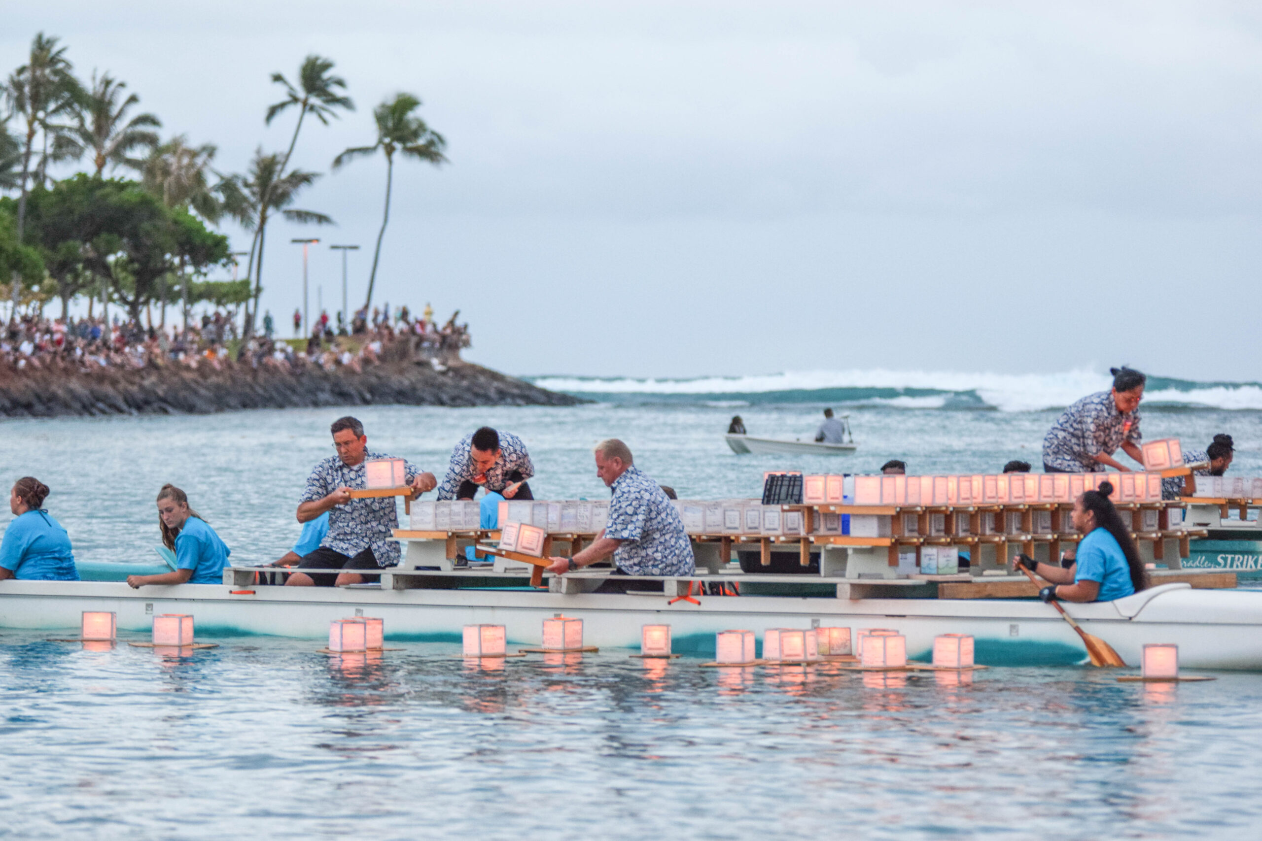Memorial Day Lantern Floating In Hawaii - Launching lanterns into the water