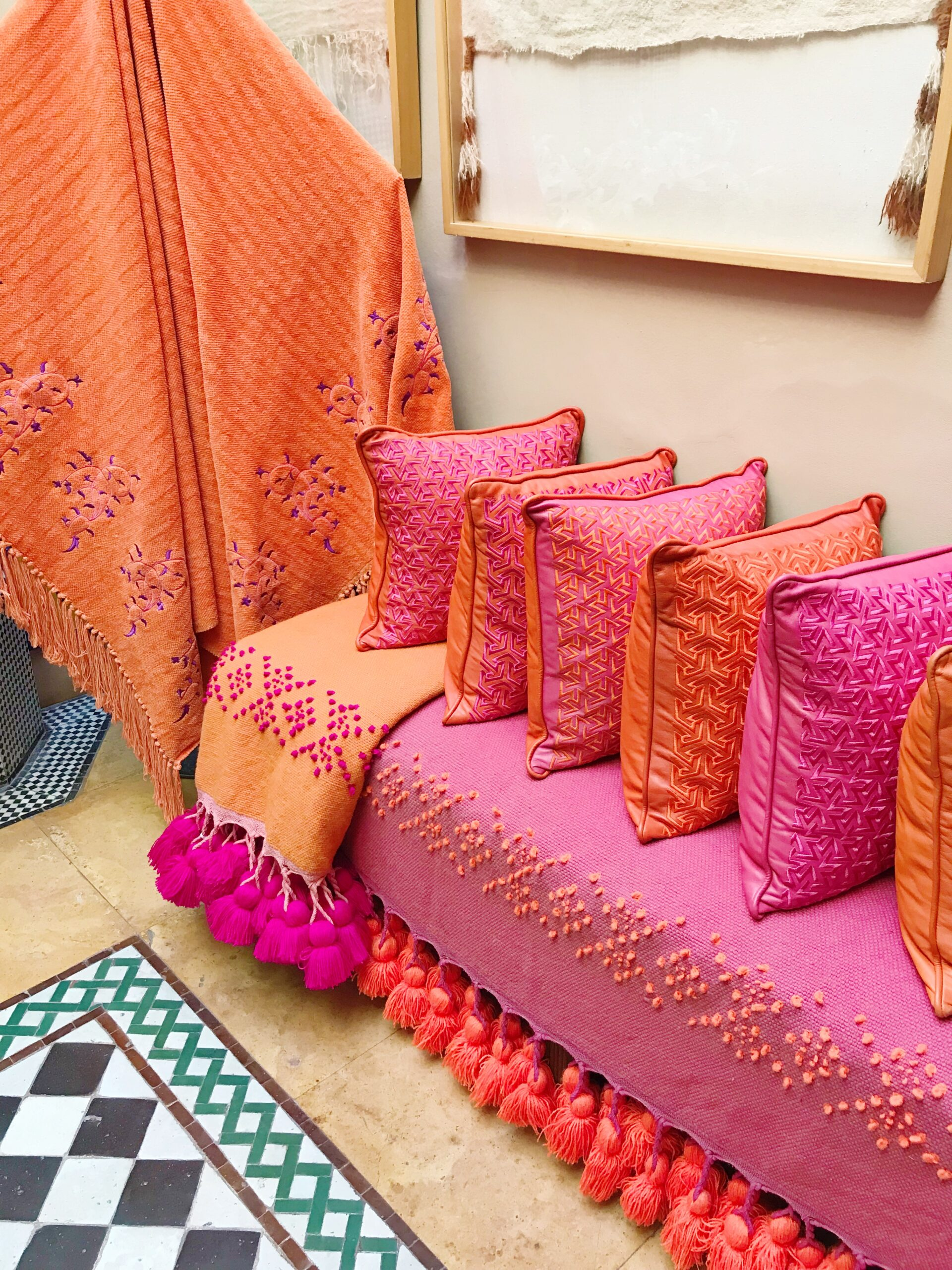 Pink and Orange Pillows - Textiles at Majorelle Garden