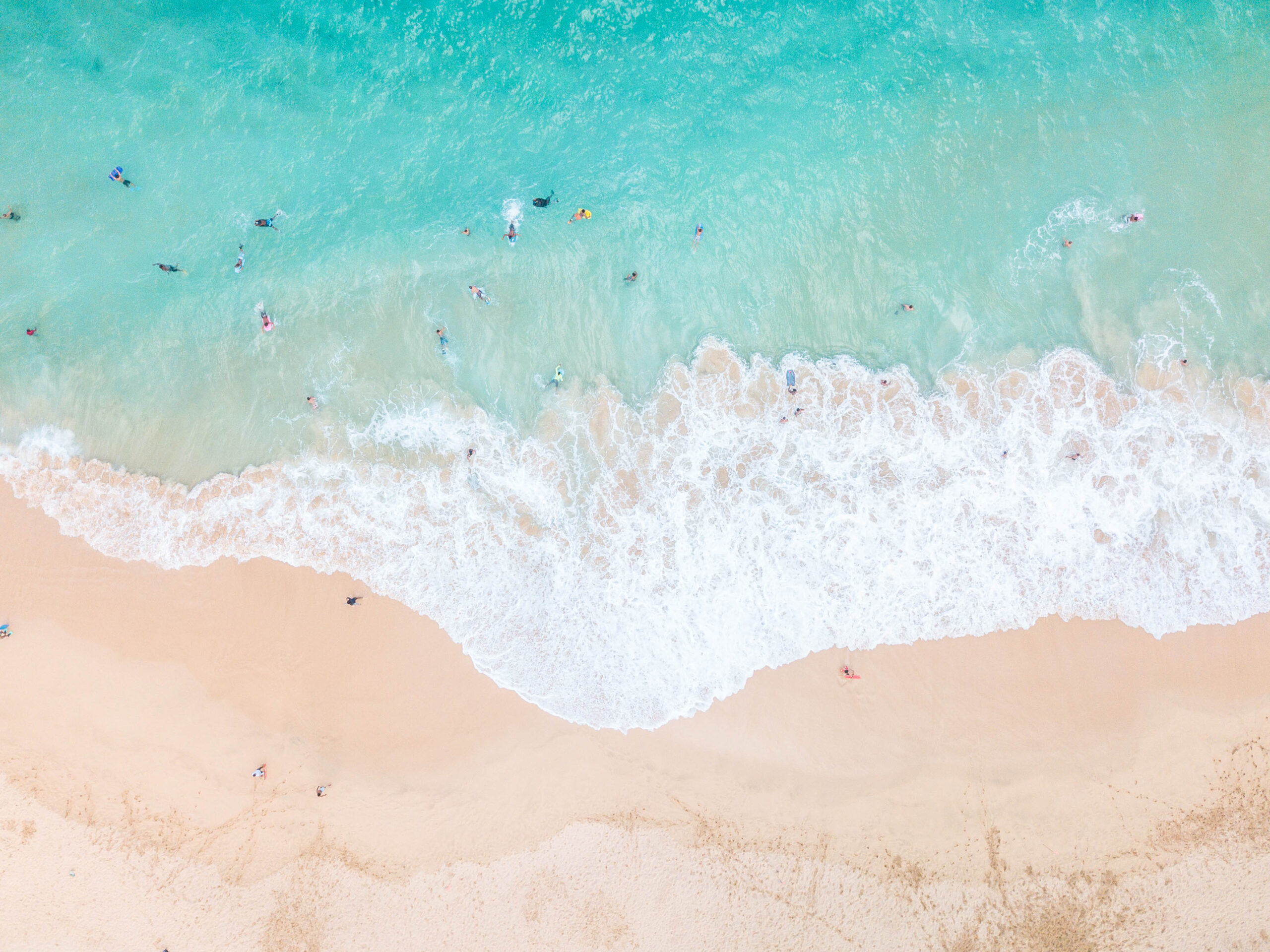 Drone view of Hawaii beach - Turquoise water, people swimming, white sandy beach