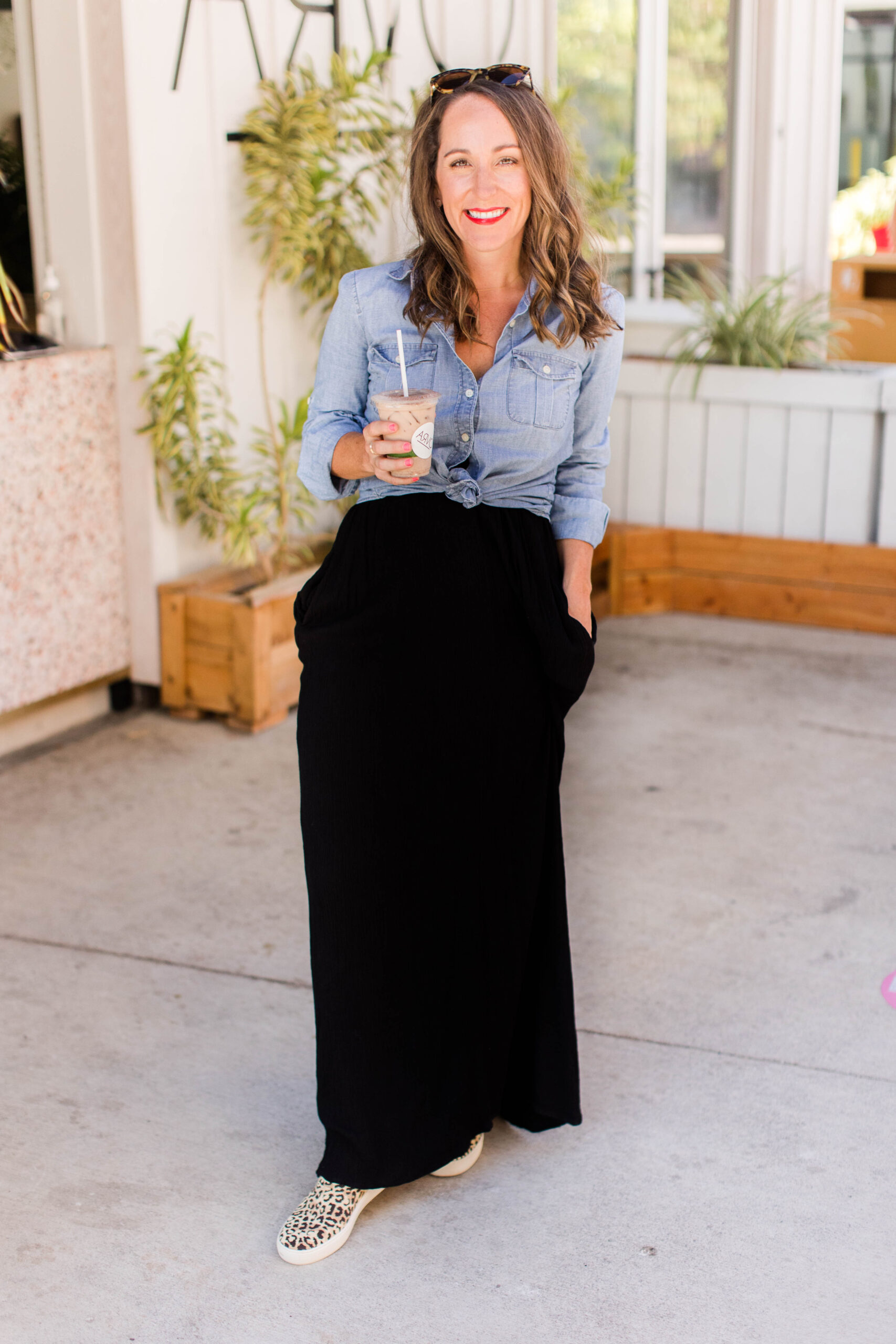 Rothy's Sneakers with a chambray top and maxi dress