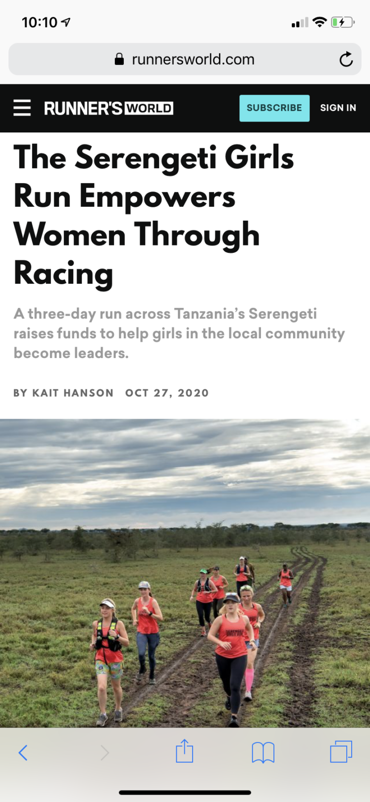 Runner's World - Serengeti Girls Run