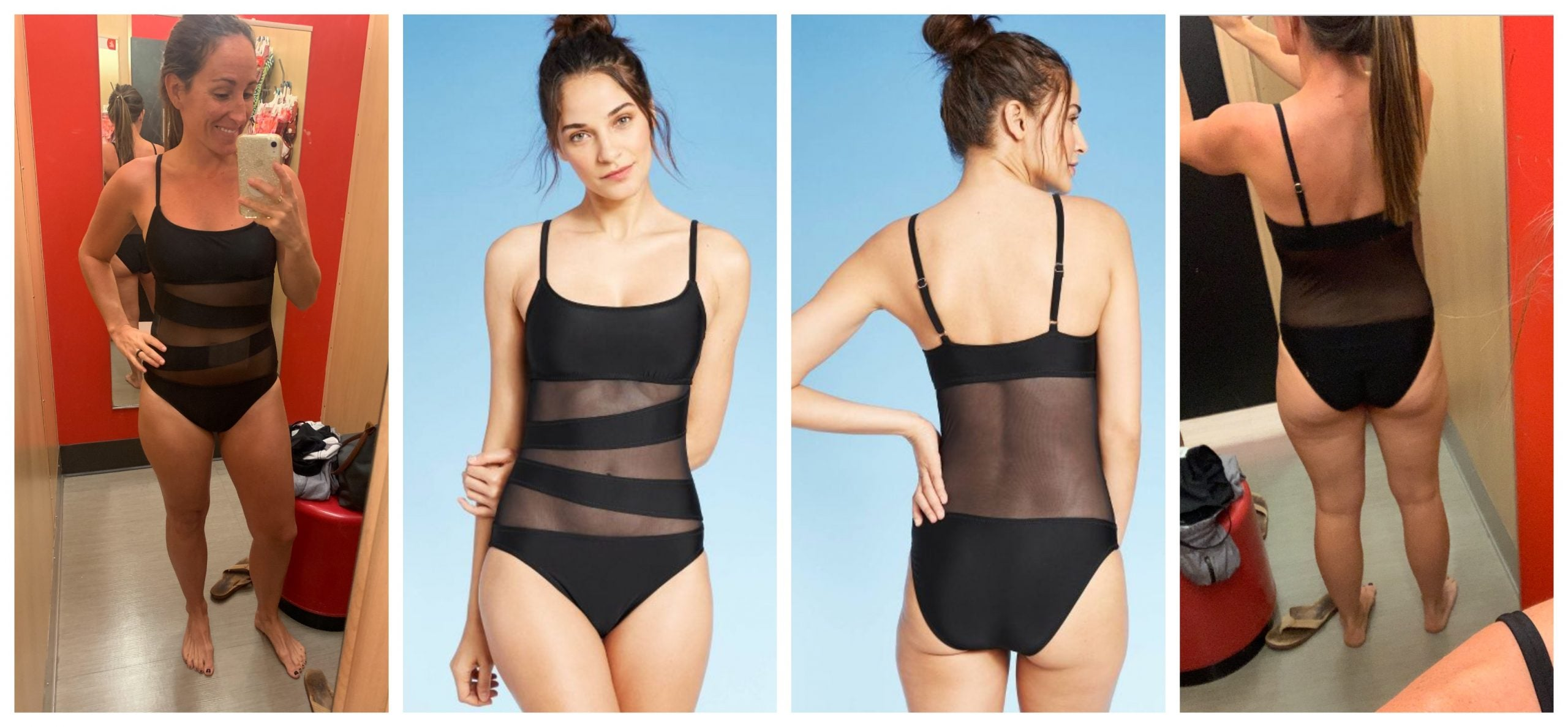 Target One Piece Swimsuit - Black Mesh Cut Out