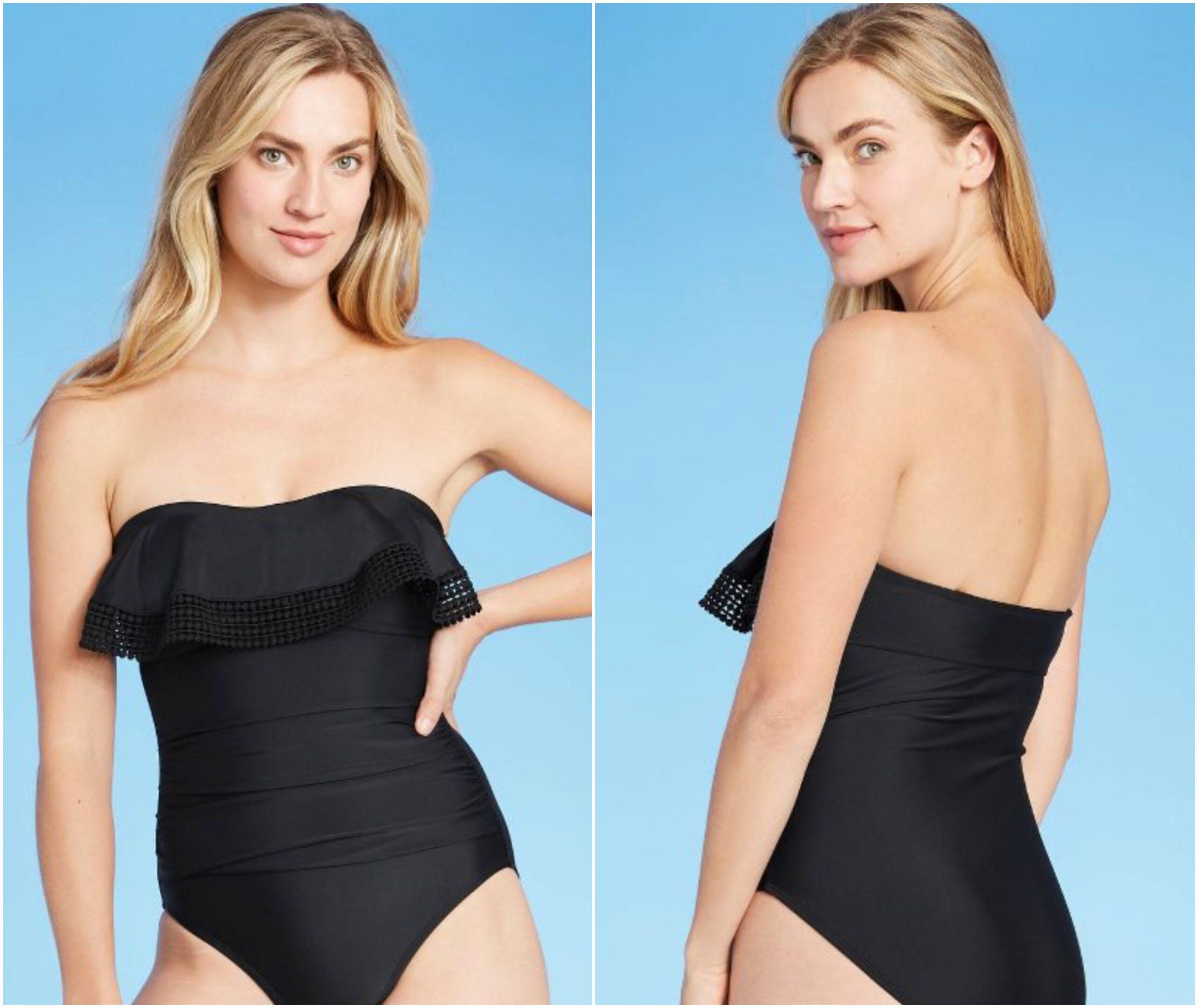 Black Strapless One Piece Swimsuit - Target Swimwear for Women