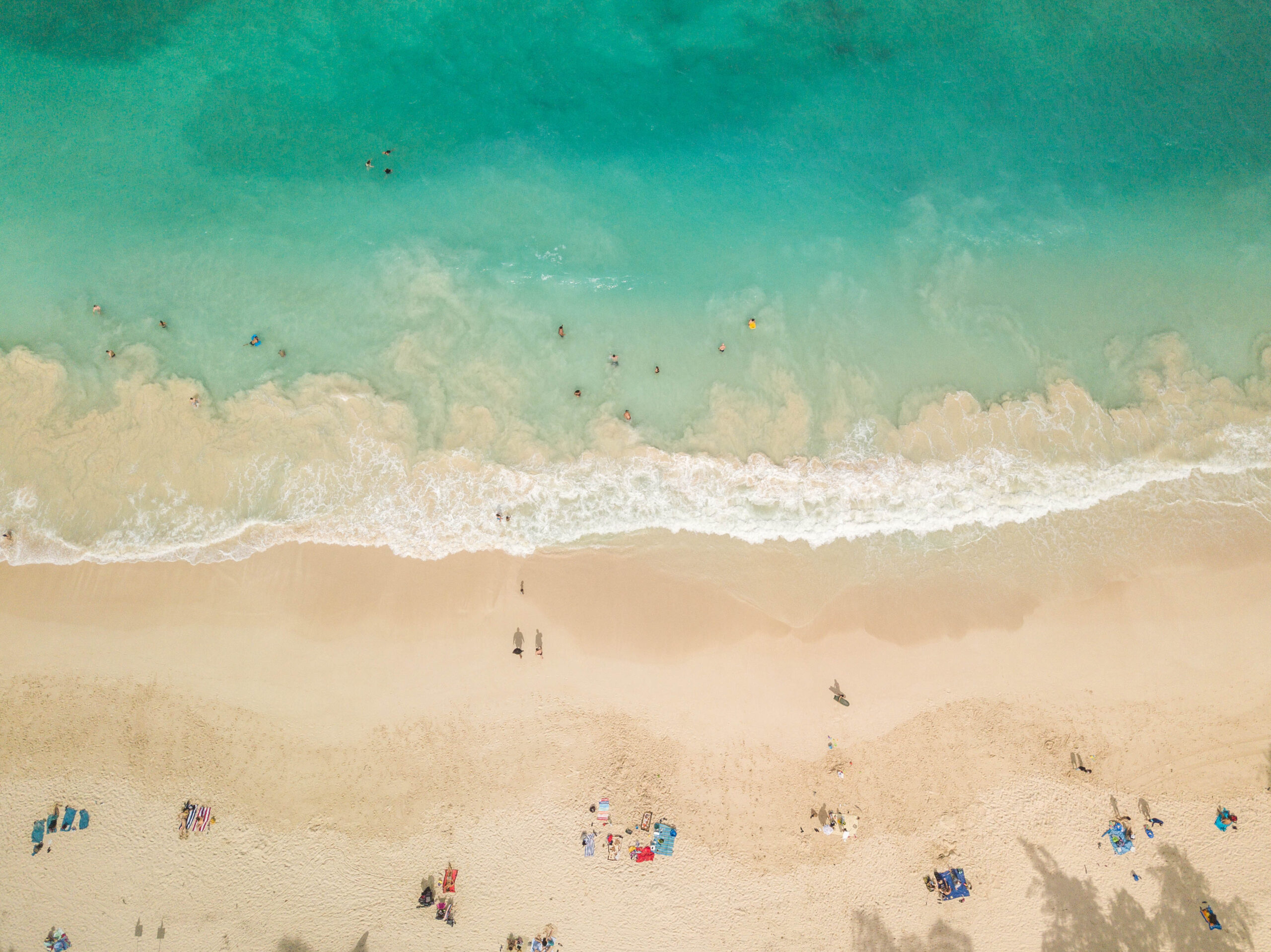 Aerial beach photograph of Waimanalo Beach - White sand with turquoise ocean