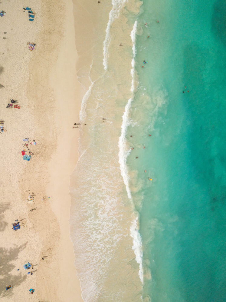 Aerial beach photograph of Waimanalo Beach - White sand with turquoise ocean