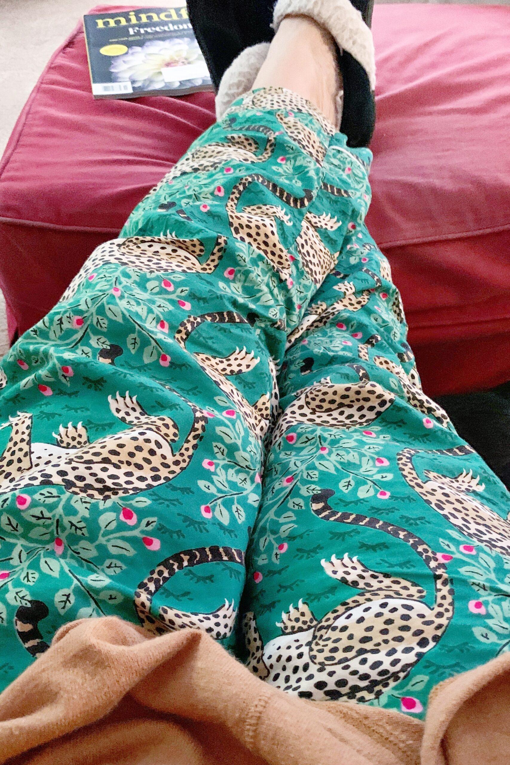 Green leopard Printfresh pajama pants