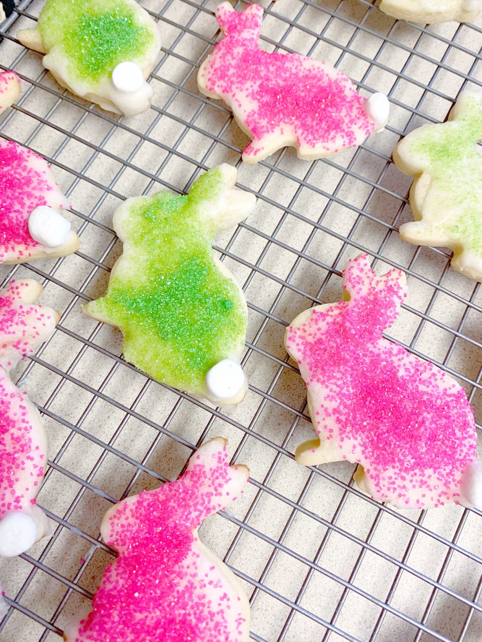 Pink and green Easter bunny cookies