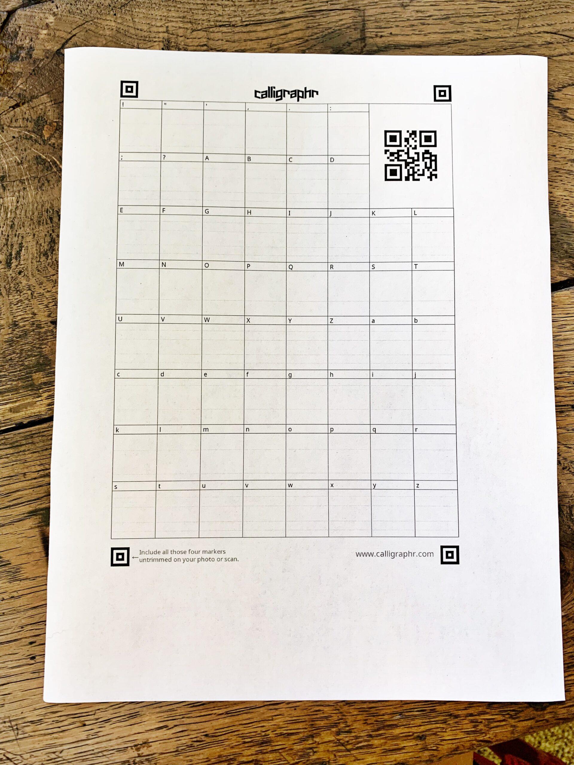 Calligraphr.com Minimal English Template Form