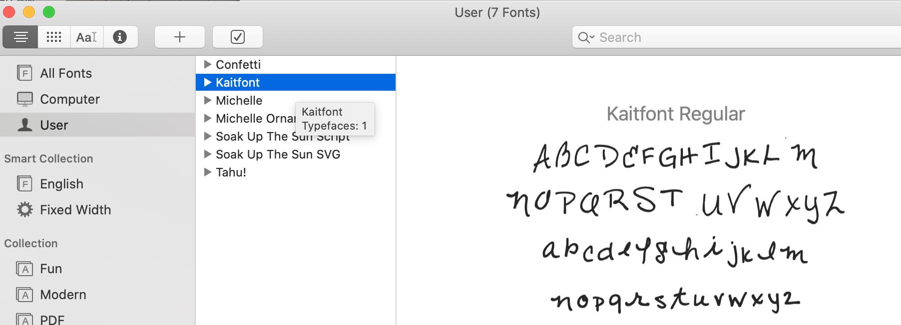 Calligraphr.com Custom Handwriting Font to Font Book