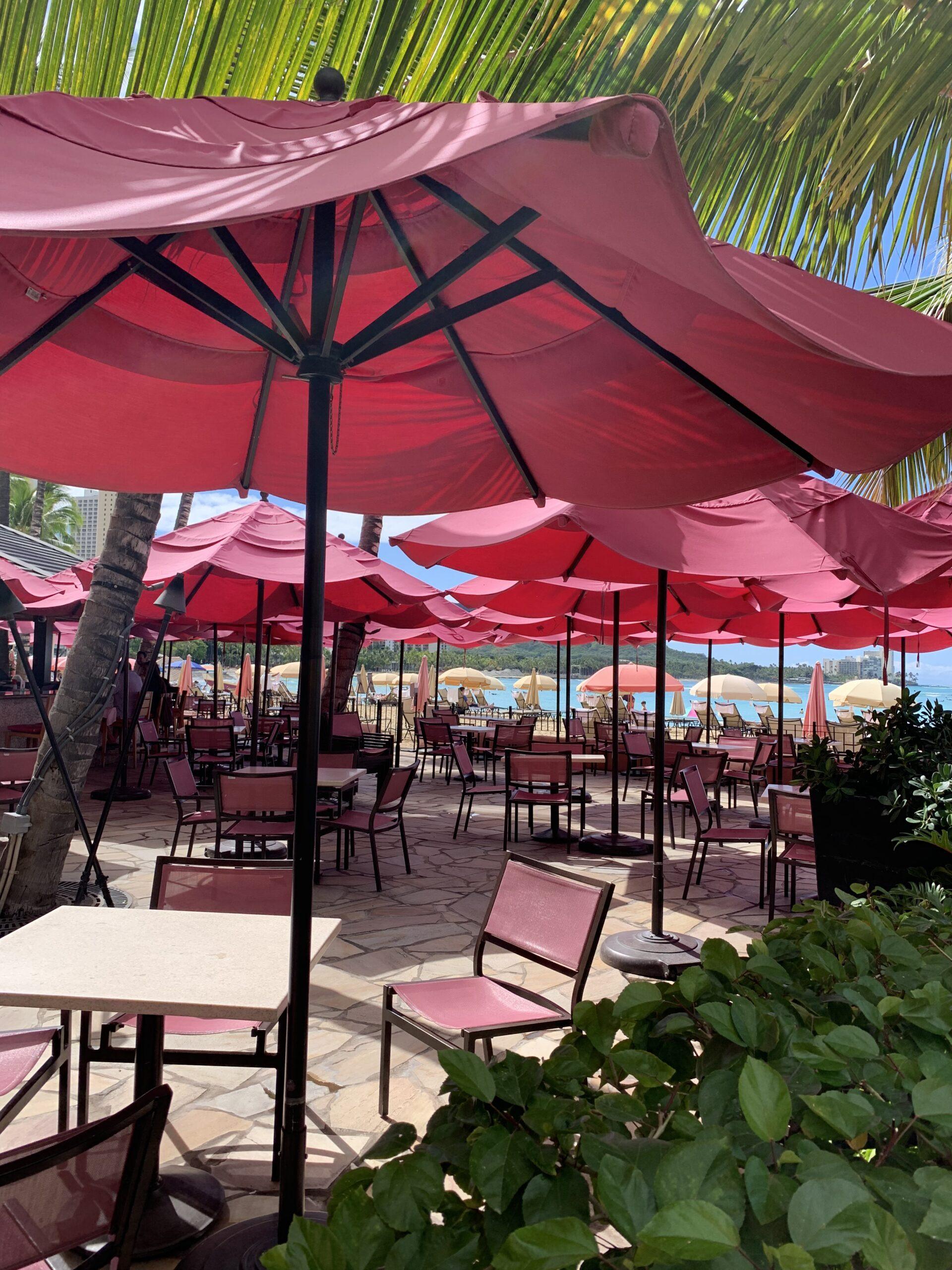 Pink umbrellas on the beach