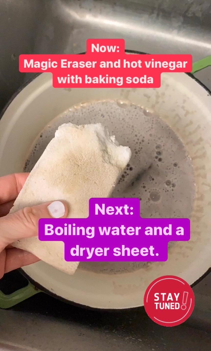 Magic Eraser to clean a Dutch oven